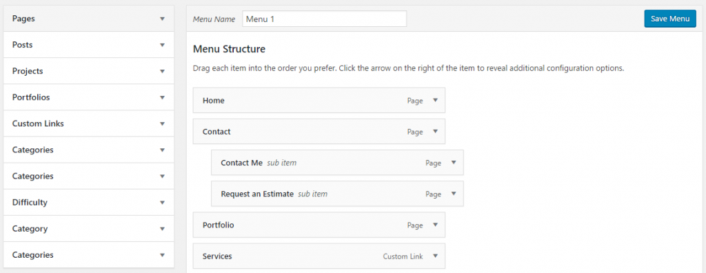 wordpress menu creation step by step tutorial
